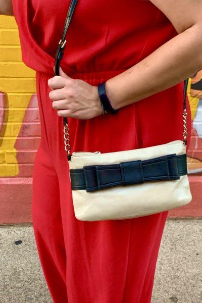 Red Apt 9 Jumpsuit and Kate Spade handbag