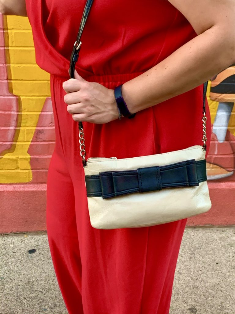 Red Apt 9 Jumpsuit and Kate Spade handbag